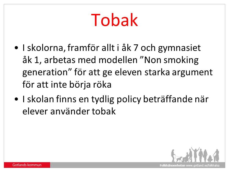 Folkhälsoenheten www.gotland.se/folkhalsa Tobak I skolorna, framför allt i åk 7 och gymnasiet åk 1, arbetas med modellen Non smoking generation för att ge eleven starka argument för att inte börja röka I skolan finns en tydlig policy beträffande när elever använder tobak