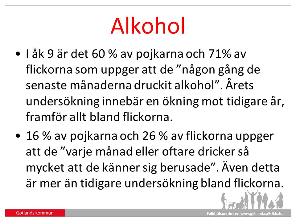 Folkhälsoenheten www.gotland.se/folkhalsa Alkohol I åk 9 är det 60 % av pojkarna och 71% av flickorna som uppger att de någon gång de senaste månaderna druckit alkohol .