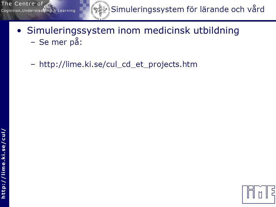 Simuleringssystem för lärande och vård Simuleringssystem inom medicinsk utbildning –Se mer på: –http://lime.ki.se/cul_cd_et_projects.htm