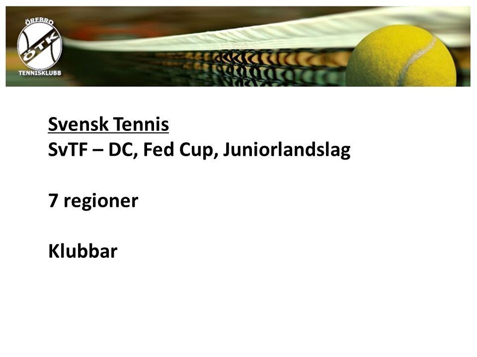 Svensk Tennis SvTF – DC, Fed Cup, Juniorlandslag 7 regioner Klubbar