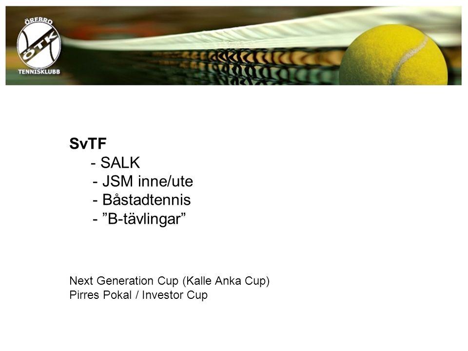 """SvTF - SALK - JSM inne/ute - Båstadtennis - """"B-tävlingar"""" Next Generation Cup (Kalle Anka Cup) Pirres Pokal / Investor Cup"""