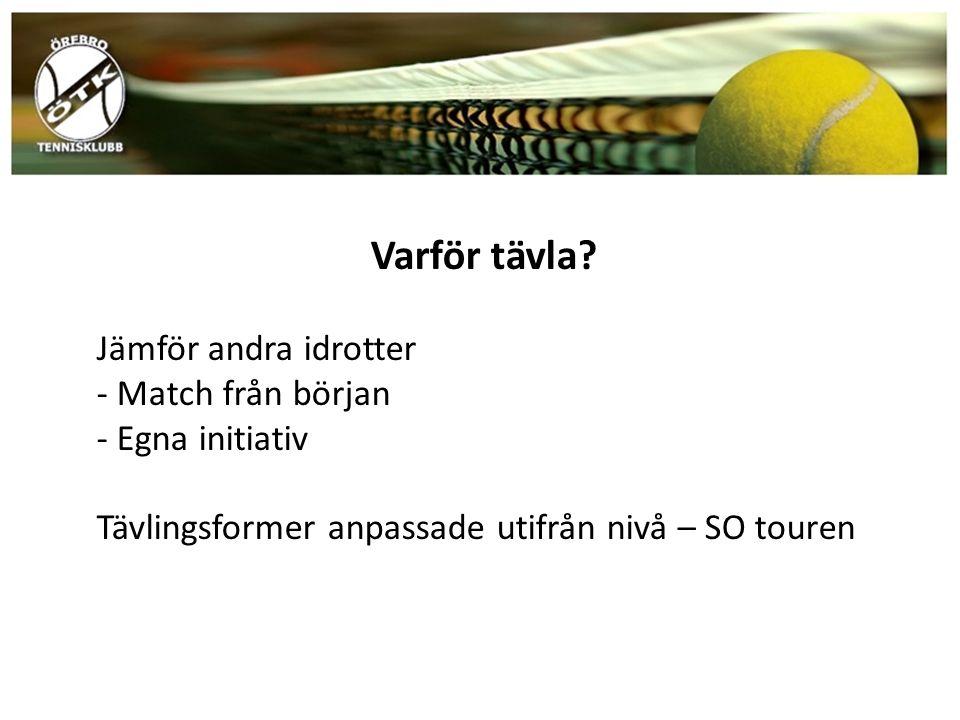 Varför tävla? Jämför andra idrotter - Match från början - Egna initiativ Tävlingsformer anpassade utifrån nivå – SO touren