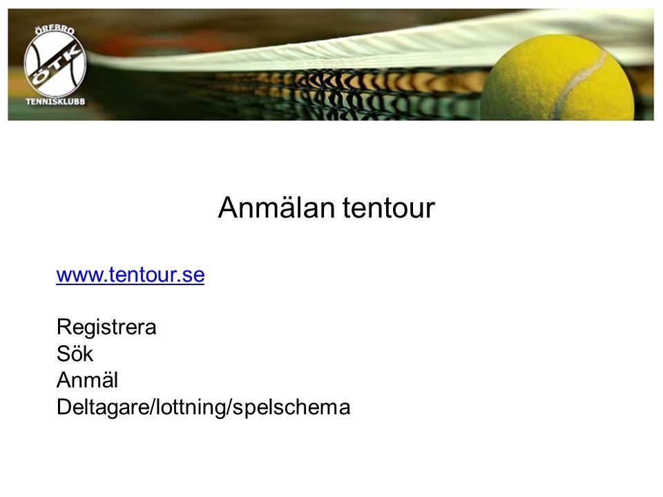 Anmälan tentour www.tentour.se Registrera Sök Anmäl Deltagare/lottning/spelschema