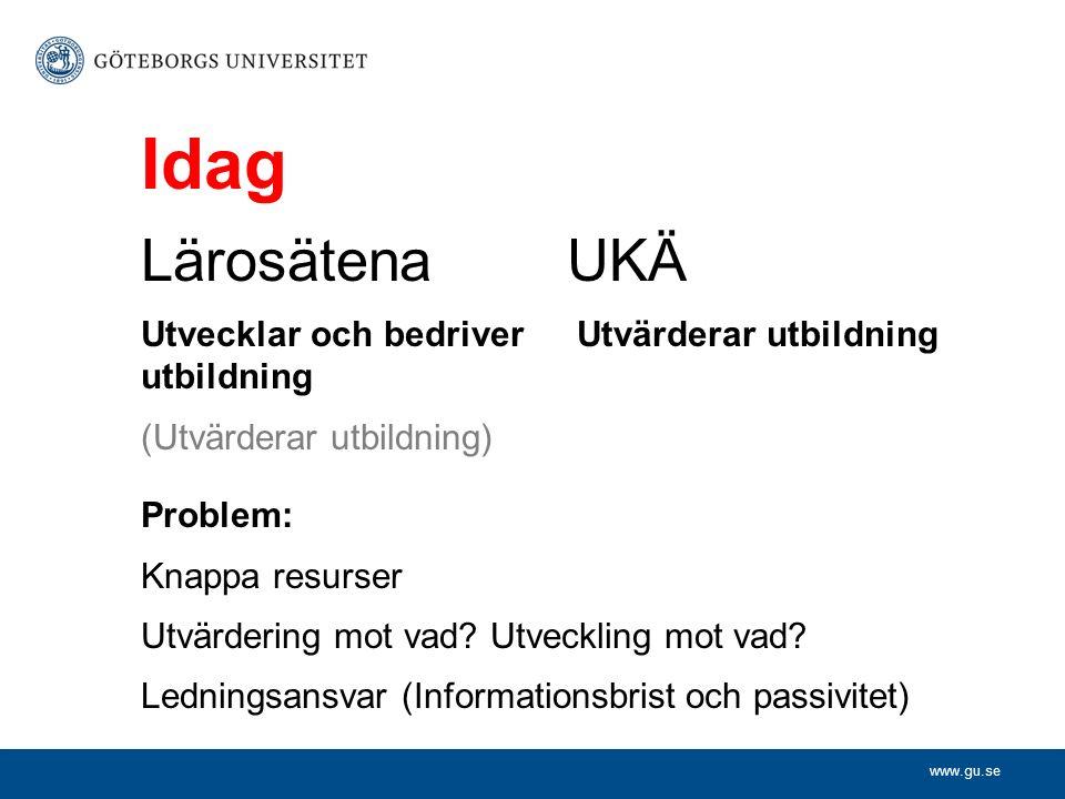 www.gu.se Idag LärosätenaUKÄ Utvecklar och bedriver Utvärderar utbildning utbildning (Utvärderar utbildning) Problem: Knappa resurser Utvärdering mot