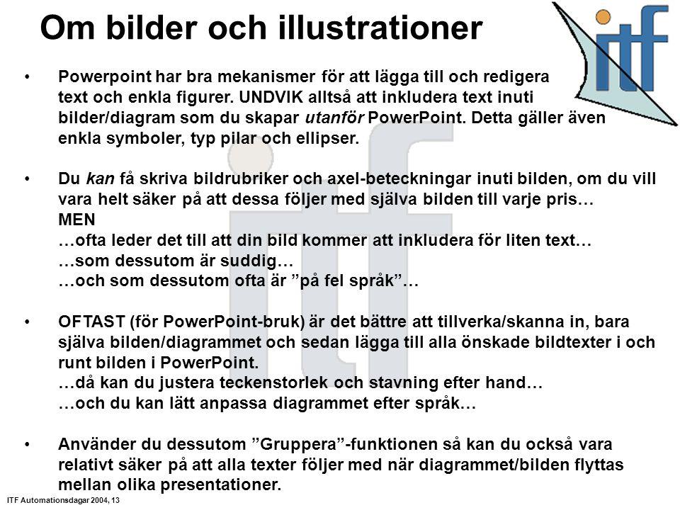 ITF Automationsdagar 2004, 13 Om bilder och illustrationer Powerpoint har bra mekanismer för att lägga till och redigera text och enkla figurer.