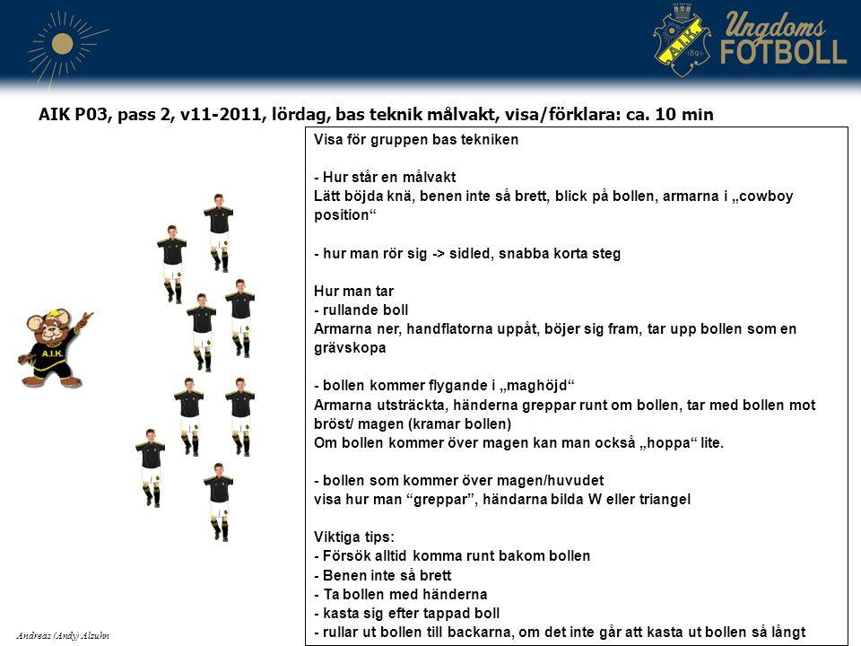 AIK P03, pass 2, v11-2011, lördag, bas teknik målvakt, visa/förklara: ca.