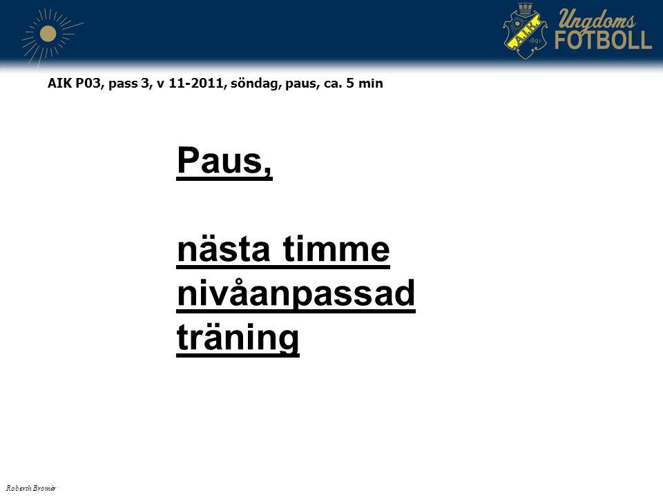 Paus, nästa timme nivåanpassad träning Roberth Bromér AIK P03, pass 3, v 11-2011, söndag, paus, ca.