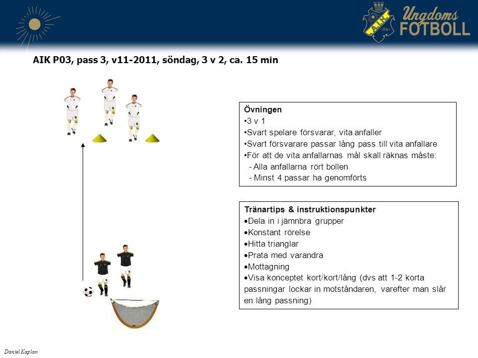 Tränartips & instruktionspunkter  Dela in i jämnbra grupper  Konstant rörelse  Hitta trianglar  Prata med varandra  Mottagning  Visa konceptet kort/kort/lång (dvs att 1-2 korta passningar lockar in motståndaren, varefter man slår en lång passning) Daniel Kaplan AIK P03, pass 3, v11-2011, söndag, 3 v 2, ca.