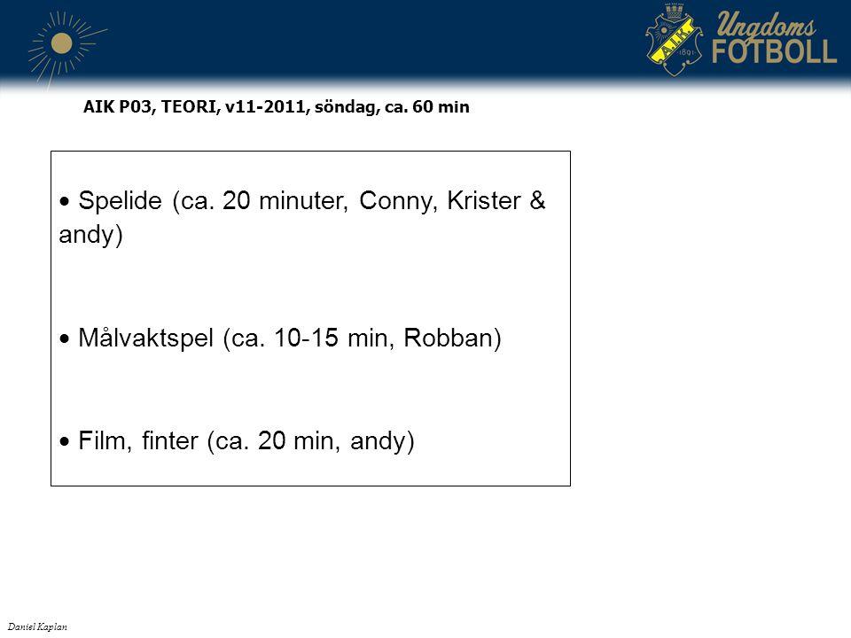  Spelide (ca. 20 minuter, Conny, Krister & andy)  Målvaktspel (ca. 10-15 min, Robban)  Film, finter (ca. 20 min, andy) Daniel Kaplan AIK P03, TEORI