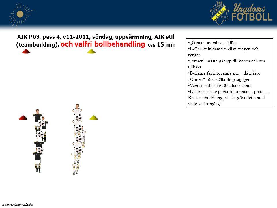 """AIK P03, pass 4, v11-2011, söndag, uppvärmning, AIK stil (teambuilding), och valfri bollbehandling ca. 15 min """"Ormar"""" av minst 5 killar Bollen är inkl"""