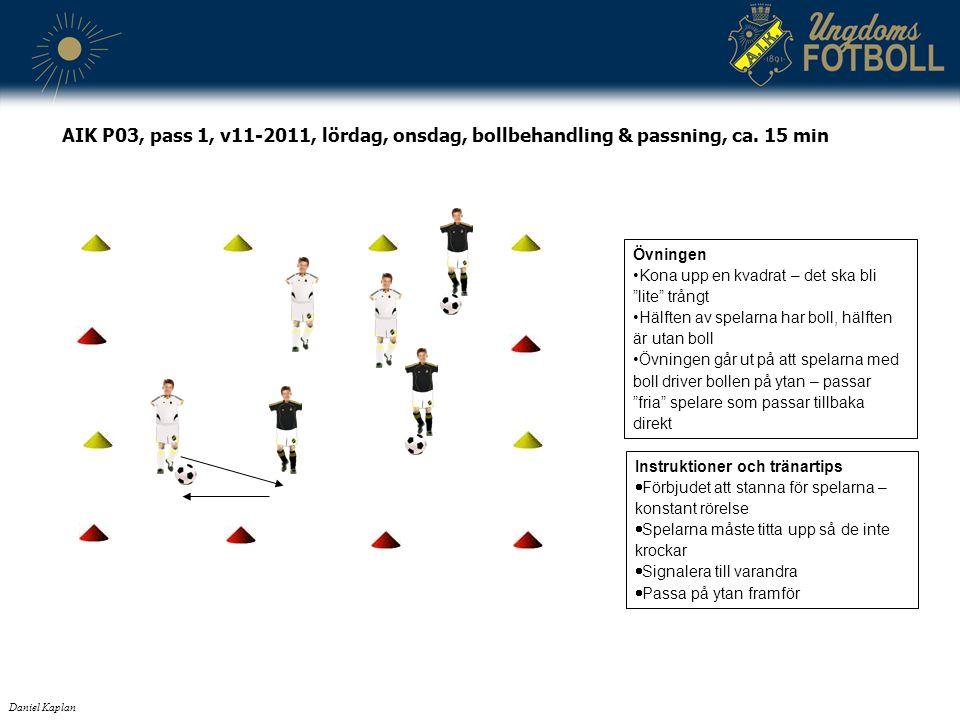 """Daniel Kaplan AIK P03, pass 1, v11-2011, lördag, onsdag, bollbehandling & passning, ca. 15 min Övningen Kona upp en kvadrat – det ska bli """"lite"""" trång"""