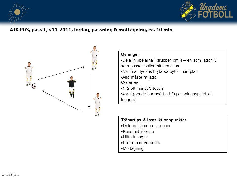 Tränartips & instruktionspunkter  Dela in i jämnbra grupper  Konstant rörelse  Hitta trianglar  Prata med varandra  Mottagning Daniel Kaplan AIK P03, pass 1, v11-2011, lördag, passning & mottagning, ca.