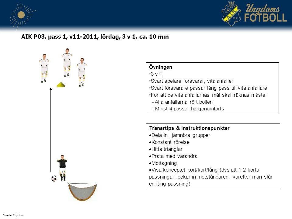 Tränartips & instruktionspunkter  Dela in i jämnbra grupper  Konstant rörelse  Hitta trianglar  Prata med varandra  Mottagning  Visa konceptet kort/kort/lång (dvs att 1-2 korta passningar lockar in motståndaren, varefter man slår en lång passning) Daniel Kaplan AIK P03, pass 1, v11-2011, lördag, 3 v 1, ca.