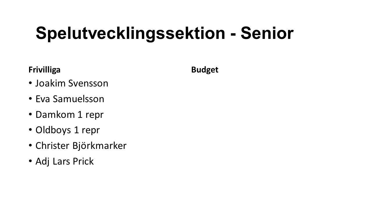 Spelutvecklingssektion - Senior Frivilliga Joakim Svensson Eva Samuelsson Damkom 1 repr Oldboys 1 repr Christer Björkmarker Adj Lars Prick Budget