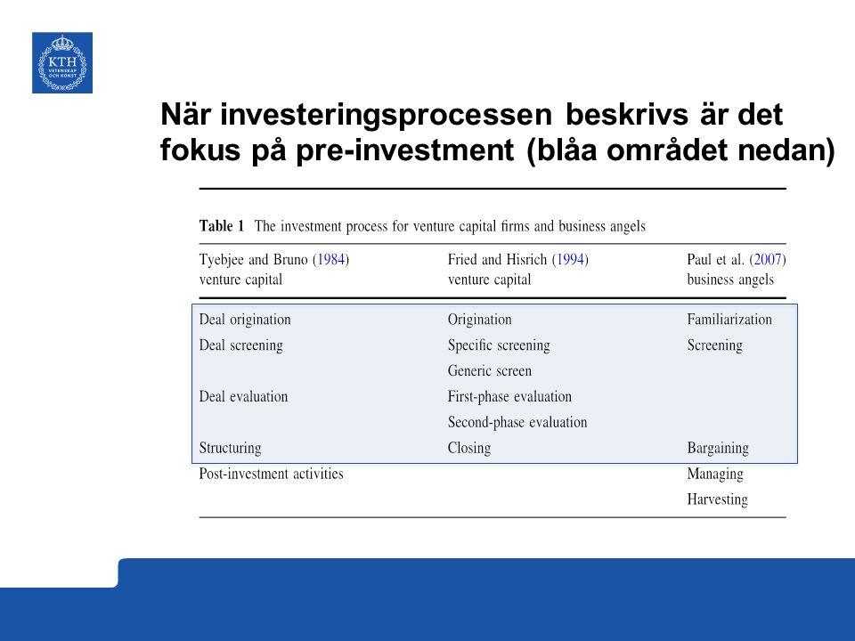 När investeringsprocessen beskrivs är det fokus på pre-investment (blåa området nedan)