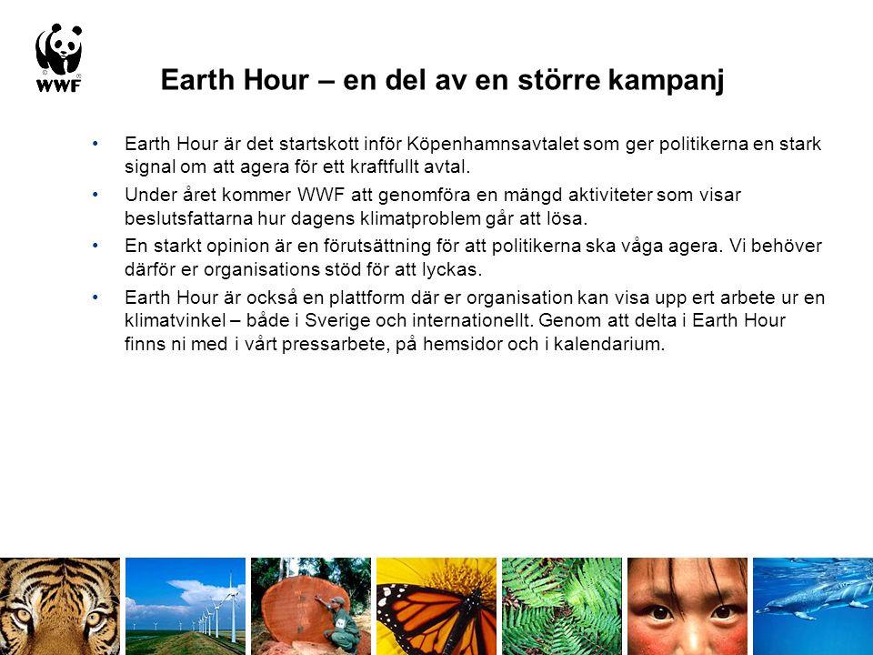 Earth Hour – en del av en större kampanj Earth Hour är det startskott inför Köpenhamnsavtalet som ger politikerna en stark signal om att agera för ett kraftfullt avtal.