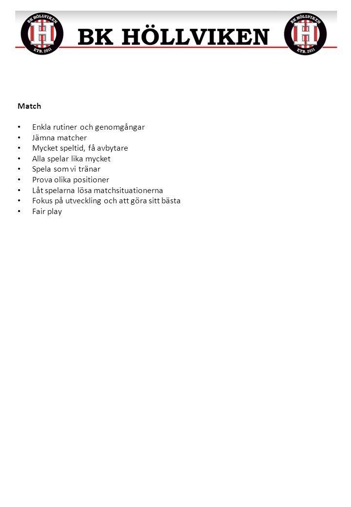 Match Enkla rutiner och genomgångar Jämna matcher Mycket speltid, få avbytare Alla spelar lika mycket Spela som vi tränar Prova olika positioner Låt s