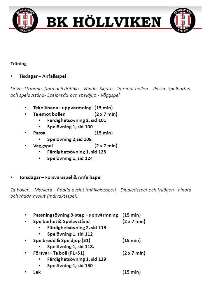 Träning Tisdagar – Anfallsspel Driva- Utmana, finta och dribbla - Vända- Skjuta - Ta emot bollen – Passa -Spelbarhet och spelavstånd- Spelbredd och sp