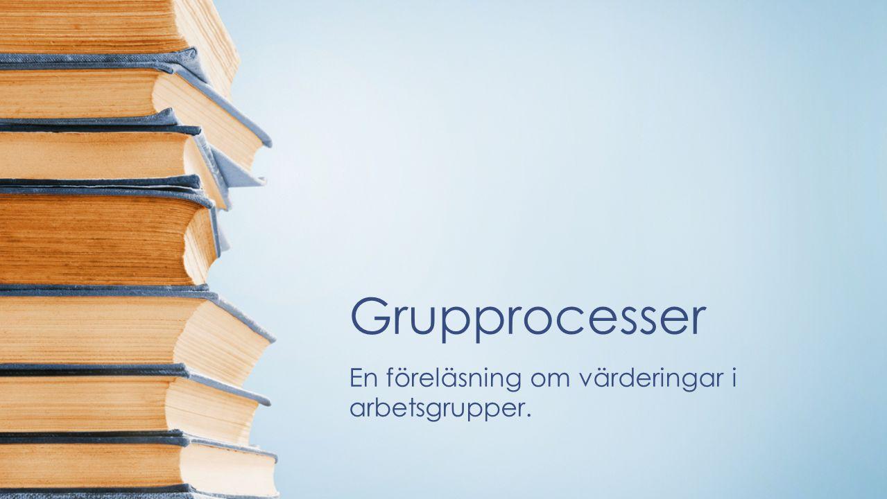 Grupprocesser En föreläsning om värderingar i arbetsgrupper.