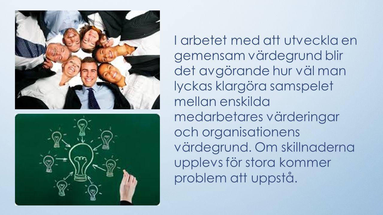 I arbetet med att utveckla en gemensam värdegrund blir det avgörande hur väl man lyckas klargöra samspelet mellan enskilda medarbetares värderingar och organisationens värdegrund.