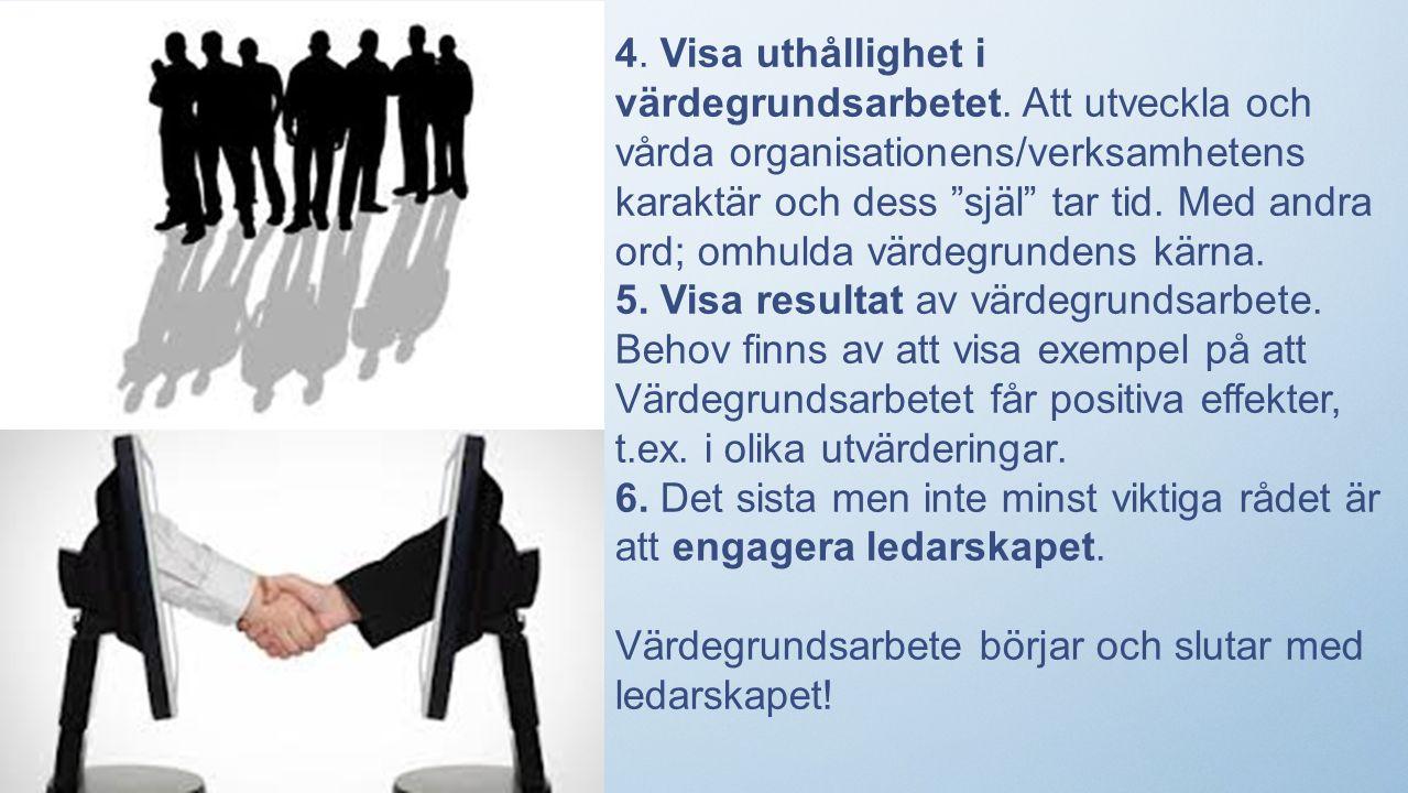 4. Visa uthållighet i värdegrundsarbetet.