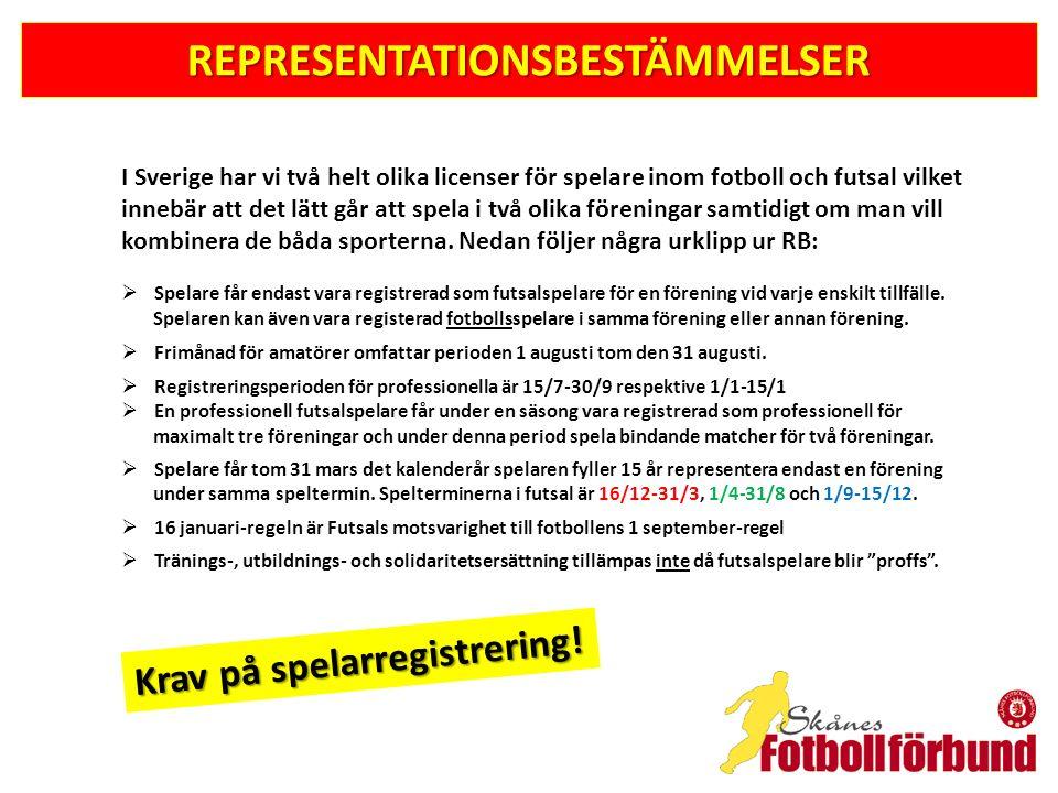 REPRESENTATIONSBESTÄMMELSER I Sverige har vi två helt olika licenser för spelare inom fotboll och futsal vilket innebär att det lätt går att spela i två olika föreningar samtidigt om man vill kombinera de båda sporterna.