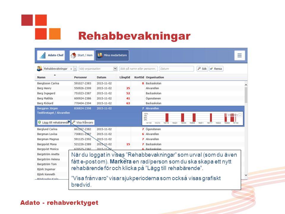 Adato - rehabverktyget Rehabbevakningar När du loggat in visas Rehabbevakningar som urval (som du även fått e-post om).