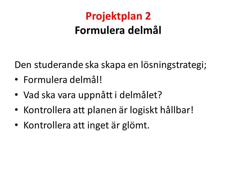 Projektplan 2 Formulera delmål Den studerande ska skapa en lösningstrategi; Formulera delmål.