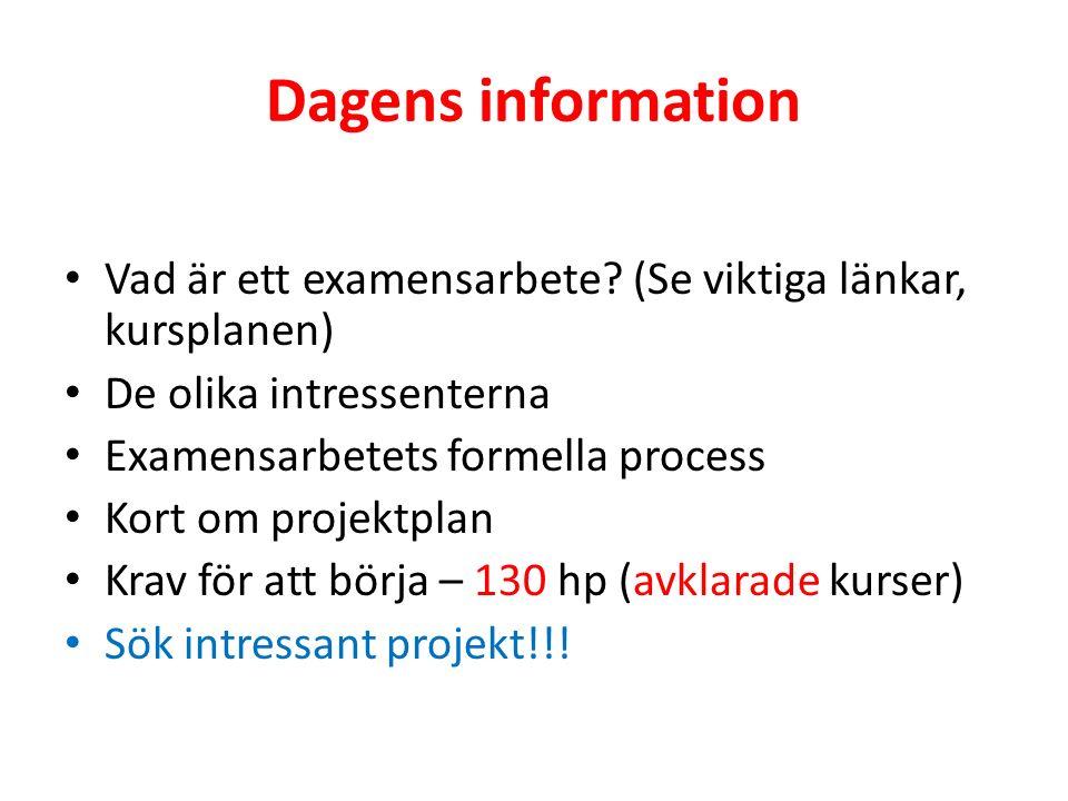 Dagens information Vad är ett examensarbete.