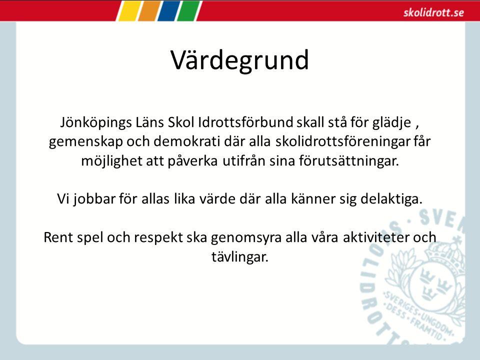 Värdegrund Jönköpings Läns Skol Idrottsförbund skall stå för glädje, gemenskap och demokrati där alla skolidrottsföreningar får möjlighet att påverka utifrån sina förutsättningar.
