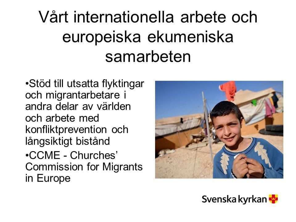 Vårt internationella arbete och europeiska ekumeniska samarbeten Stöd till utsatta flyktingar och migrantarbetare i andra delar av världen och arbete med konfliktprevention och långsiktigt bistånd CCME - Churches' Commission for Migrants in Europe