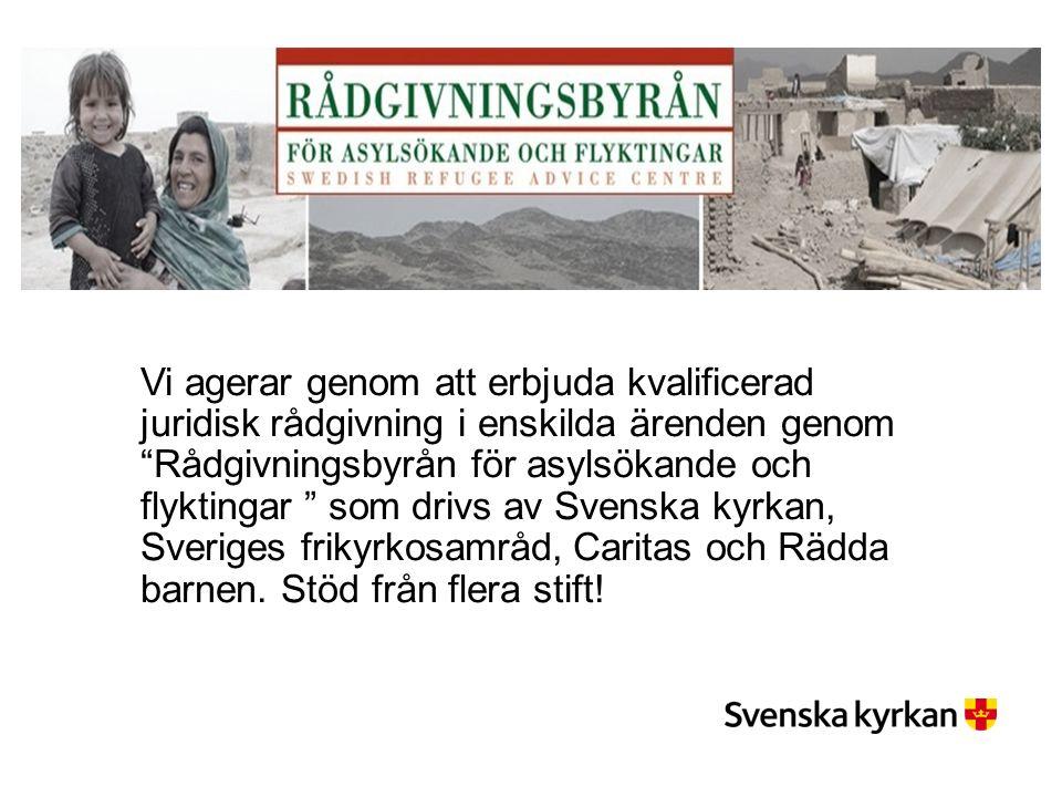 Vi agerar genom att erbjuda kvalificerad juridisk rådgivning i enskilda ärenden genom Rådgivningsbyrån för asylsökande och flyktingar som drivs av Svenska kyrkan, Sveriges frikyrkosamråd, Caritas och Rädda barnen.
