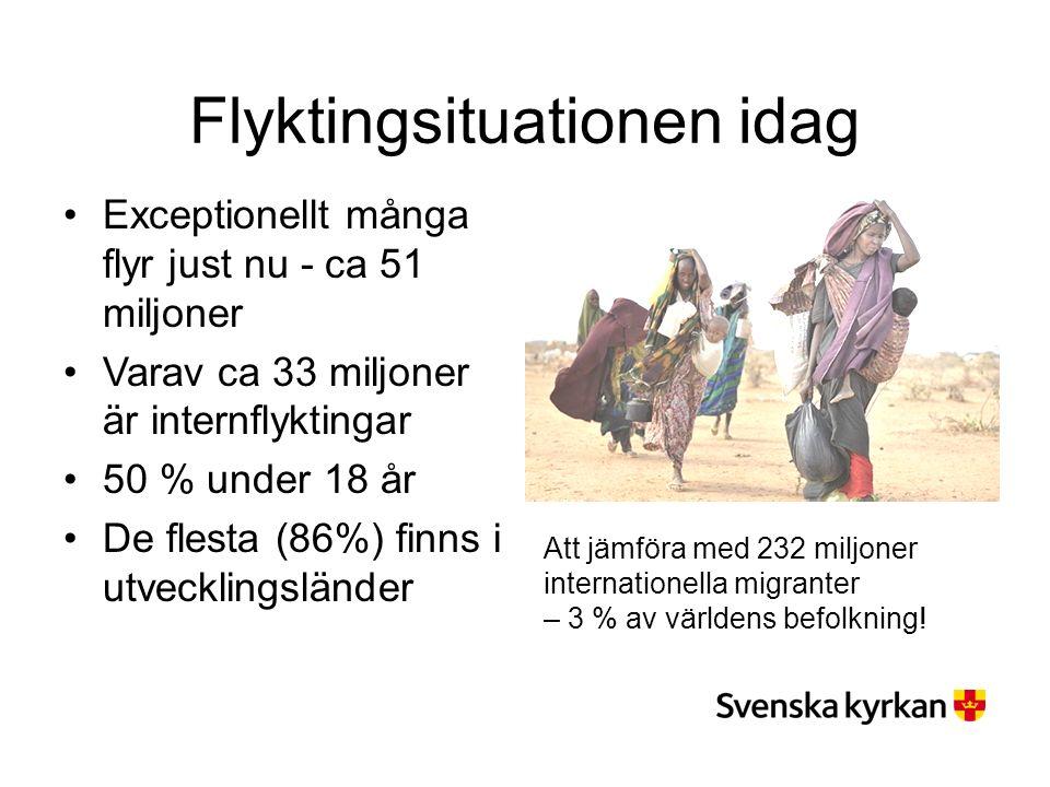 Flyktingsituationen idag Exceptionellt många flyr just nu - ca 51 miljoner Varav ca 33 miljoner är internflyktingar 50 % under 18 år De flesta (86%) finns i utvecklingsländer Att jämföra med 232 miljoner internationella migranter – 3 % av världens befolkning!