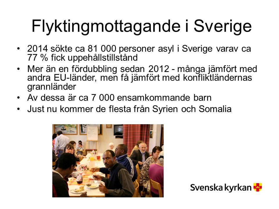 Flyktingmottagande i Sverige 2014 sökte ca 81 000 personer asyl i Sverige varav ca 77 % fick uppehållstillstånd Mer än en fördubbling sedan 2012 - många jämfört med andra EU-länder, men få jämfört med konfliktländernas grannländer Av dessa är ca 7 000 ensamkommande barn Just nu kommer de flesta från Syrien och Somalia