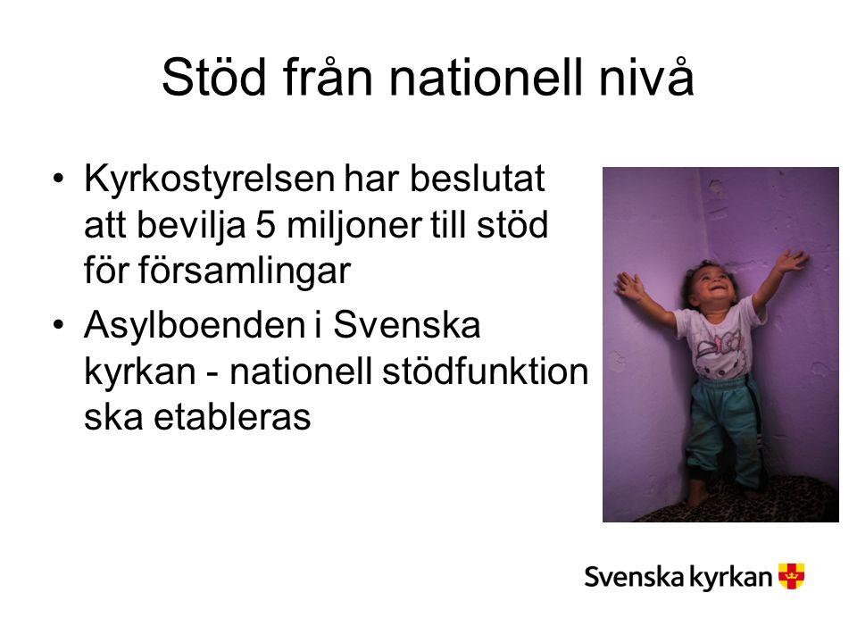 Stöd från nationell nivå Kyrkostyrelsen har beslutat att bevilja 5 miljoner till stöd för församlingar Asylboenden i Svenska kyrkan - nationell stödfunktion ska etableras