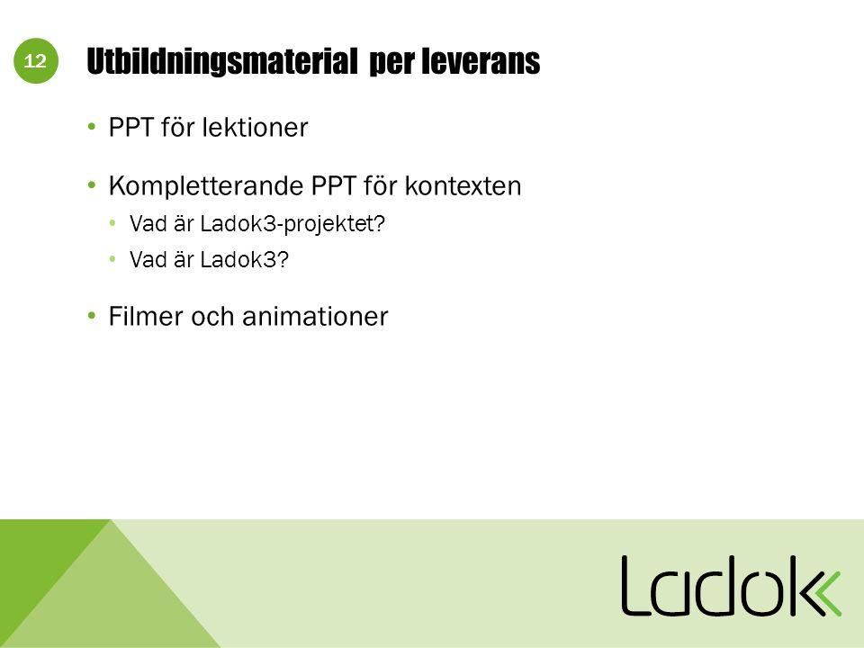 12 Utbildningsmaterial per leverans PPT för lektioner Kompletterande PPT för kontexten Vad är Ladok3-projektet.