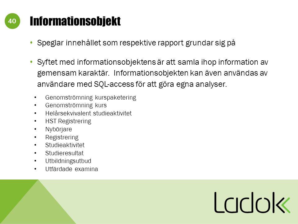 40 Informationsobjekt Speglar innehållet som respektive rapport grundar sig på Syftet med informationsobjektens är att samla ihop information av gemensam karaktär.