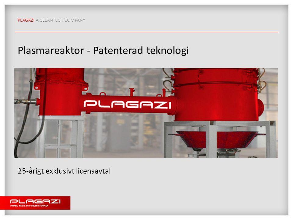 PLAGAZI A CLEANTECH COMPANY Plasmareaktor - Patenterad teknologi 25-årigt exklusivt licensavtal