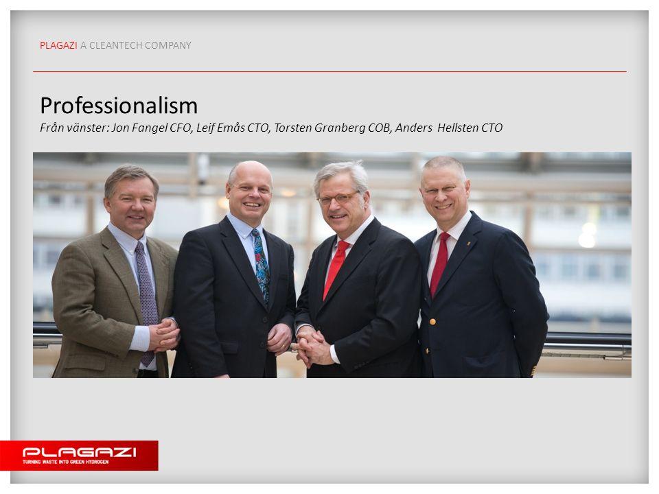 PLAGAZI A CLEANTECH COMPANY Professionalism Från vänster: Jon Fangel CFO, Leif Emås CTO, Torsten Granberg COB, Anders Hellsten CTO