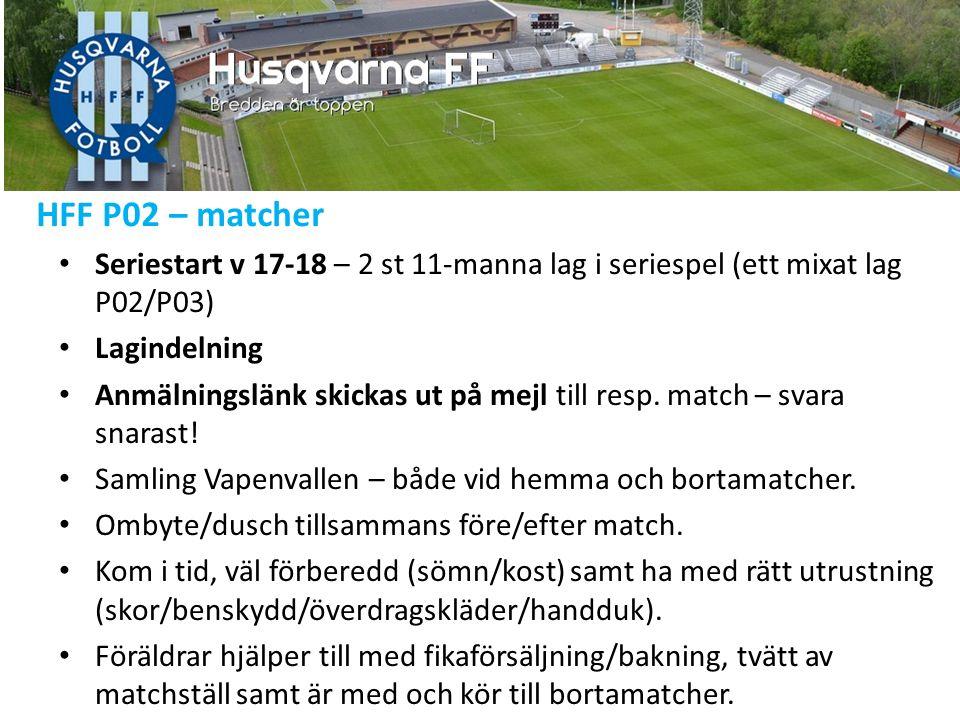 HFF P02 – cuper/aktiviteter Giff-cupen, Tidaholm 23-24/4 (gruppspel/slutspel 2x20) Grupp F: HFF, IFK Skövde, Mullsjö IF, Kållered SK.