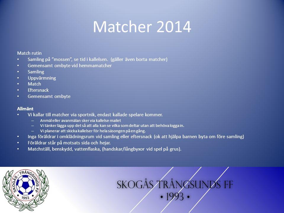 Matcher 2014 Match rutin Samling på mossen , se tid i kallelsen.