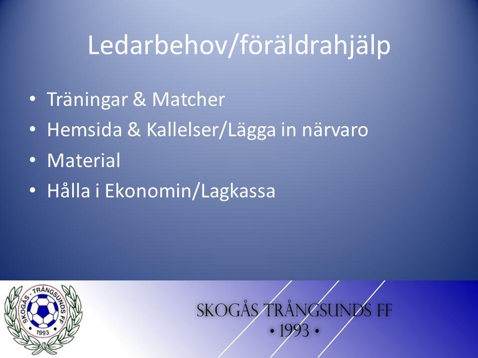 Ledarbehov/föräldrahjälp Träningar & Matcher Hemsida & Kallelser/Lägga in närvaro Material Hålla i Ekonomin/Lagkassa