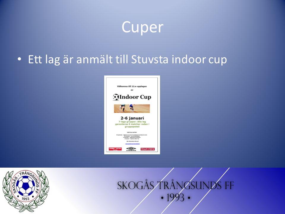 Cuper Ett lag är anmält till Stuvsta indoor cup