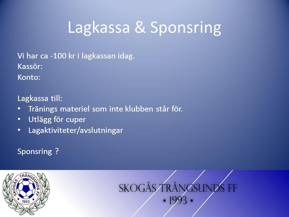 Lagkassa & Sponsring Vi har ca -100 kr i lagkassan idag.