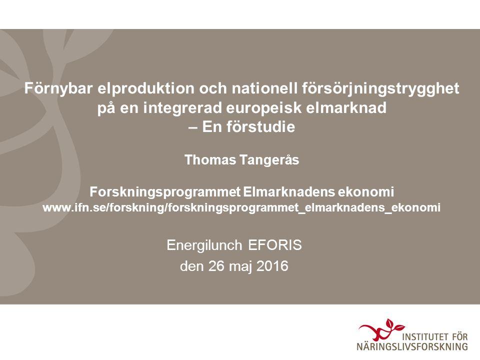 Förnybar elproduktion och försörjningstrygghet den 26 maj 2016 Projektbeskrivning Studera samspelet mellan nationella effektreserver och marknadsintegration på en multinationell elmarknad Beslut tas på nationell nivå men har konsekvenser utomlands till följd av att elmarknaderna är sammankopplade En risk att styrmedlen snedvrids i riktning av att lösa nationella problem i fall nationella perspektiv dominerar besluten Syftet är att identifiera snedvridningar som nationella kapacitets- mekanismer kan ge upphov till och eventuellt förslå förbättringar