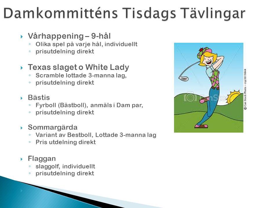  Utbyte med Varbergs damer ◦ 18-hål matchspel ◦ Anmälningslista finns i damrummet  Damernas MatchCup ◦ 18-hål matchspel, ◦ Utslagstävling tills 1 vinnare är kvar ◦ Anmälningslista finns i damrummet ◦ En anmälningsavgift  Serie spel och Damer D30+, D50+ resp D60+ ◦ Slagtävling, individuellt ◦ Tävling mot andra klubbar på egen och andra banor  Old Girls ◦ För Damer 50 + ◦ slaggolf individuellt, 18 hål ◦ Tävling mot andra klubbar på egen och andra banor ◦ schema på hemsidan o i omklädningsrum