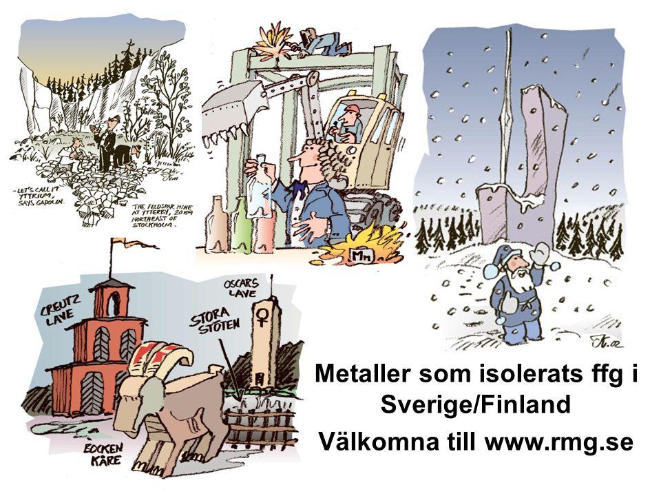 061030 Metaller som isolerats ffg i Sverige/Finland Välkomna till www.rmg.se