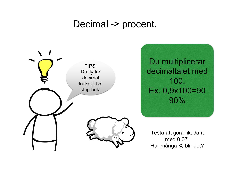 Decimal -> procent. Testa att göra likadant med 0,07.