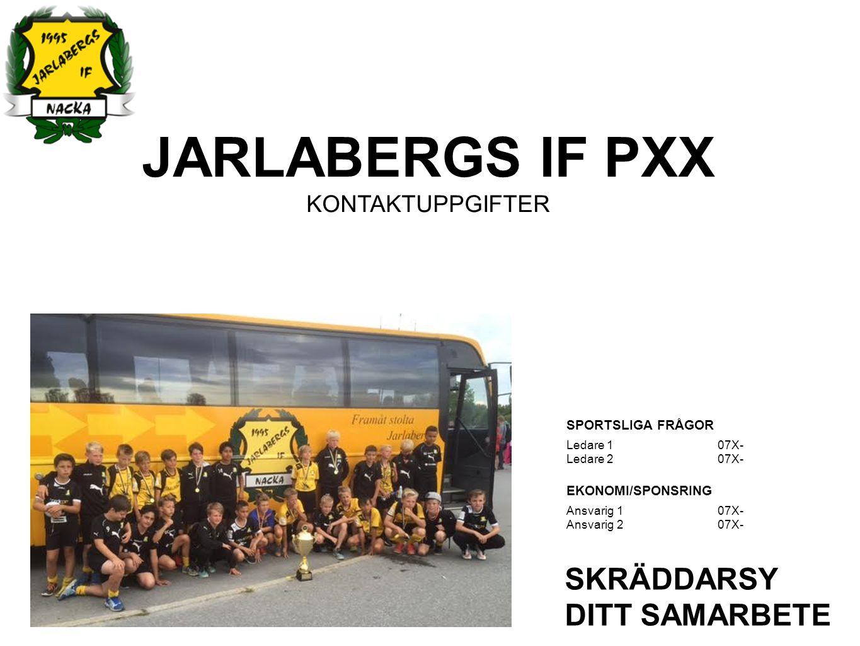 JARLABERGS IF PXX KONTAKTUPPGIFTER SKRÄDDARSY DITT SAMARBETE SPORTSLIGA FRÅGOR Ledare 107X- Ledare 2 07X- EKONOMI/SPONSRING Ansvarig 1 07X- Ansvarig 2