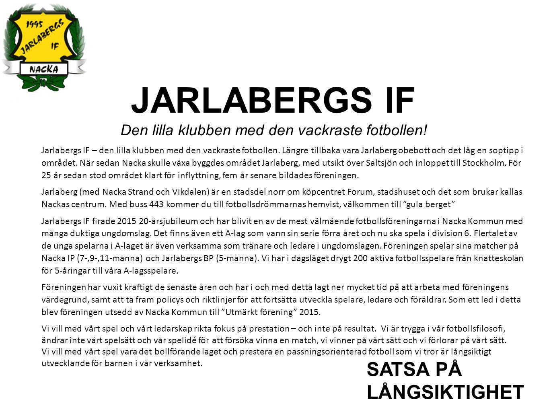 JARLABERGS IF Den lilla klubben med den vackraste fotbollen! SATSA PÅ LÅNGSIKTIGHET Jarlabergs IF – den lilla klubben med den vackraste fotbollen. Län